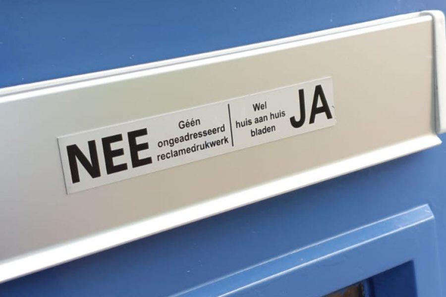 Geen JA-JA sticker in Roosendaal