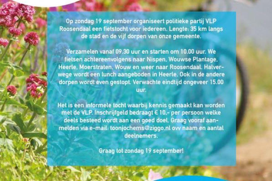 Fietstocht VLP Roosendaal, zondag 19 september a.s.